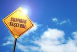 summer festival, 3D rendering, traffic sign