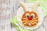 Fototapety Easter funny bunny pancakes with fruits