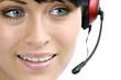 Leinwanddruck Bild - Junge Frau mit Headset in einem Callcenter