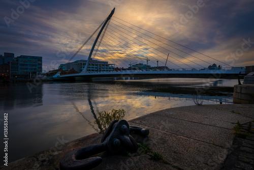 Sunset by Beckett Bridge, Dublin Poster