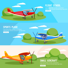 Flight on biplane banners, flying competitions of airplanes and biplanes