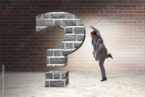 Angry man with baseball bat hitting question mark Poster