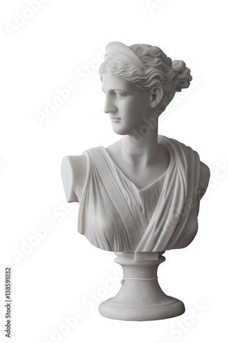 Biała głowa marmurowa statua rzymska Ceres lub grecki Demeter odizolowywający na bielu
