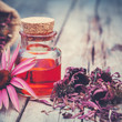 Essential oil bottle and coneflower on wooden rustic board, herbal medicine. Retro toned image.