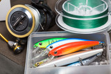 Closeup of a fishing box with colorful lures. - 138596457