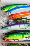 Closeup of a fishing box with colorful lures. - 138596489