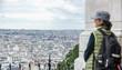 Montmartre, tourist overlooking Paris.