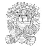 Teddy bear hugging heart and roses. Hand drawn sketch illustration for adult coloring book.