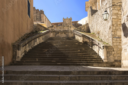 Baroque staircase in Old Town Dubrovnik, the way to Church of St. Ignatius