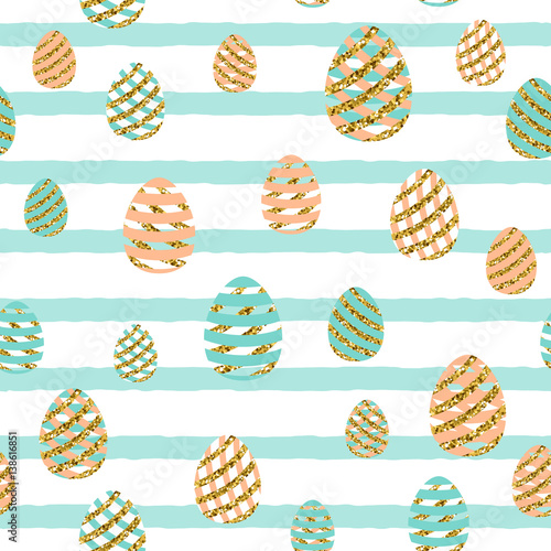 Cotton fabric Vector illustration of easter greeting seamless pattern