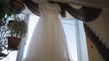 View of the wedding dress from top to bottom