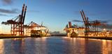 Port with cranes and cargo ships // Hafen mit Kränen und Frachtschiffen - 138621466