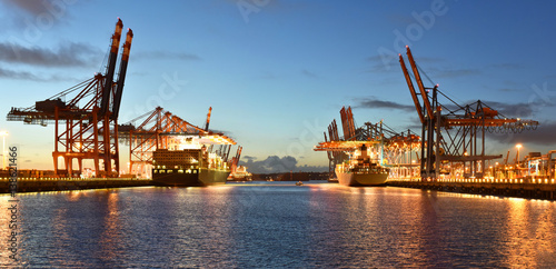 Port with cranes and cargo ships // Hafen mit Kränen und Frachtschiffen Poster