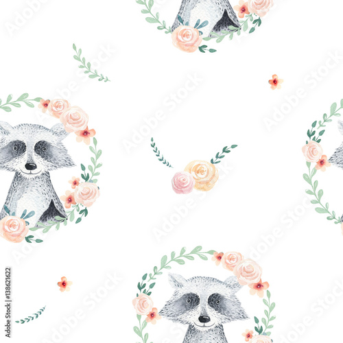 Watercolor boho floral pattern with raccoon. bohemian natural background: leaves, feathers, flowers,   Artistic decoration illustration. Save the date, weddign design, nursery illustration - 138621622