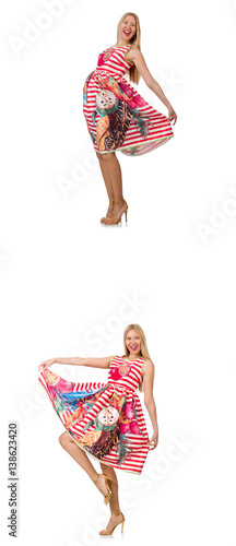 Collage of woman in fashion look isolated on white © Elnur