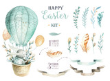 Hand drawn watercolor happy easter set with bunnies design.Rabbit  bohemian style, watercolour isolated illustration on white. natural boho style.  nest, quail,  thrush, birth, tree. - 138624621
