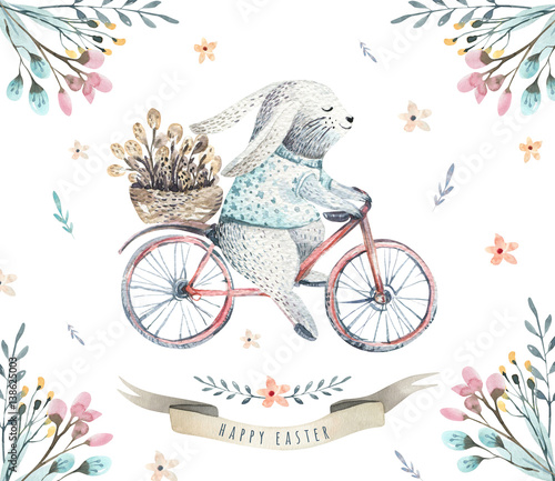 Hand drawing easter watercolor cartoon bunnies with leaves, branches and feathers. indigo Watercolour rabbit art illustration in vintage boho style. Greeting bohemian bunny card. - 138625003
