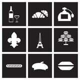 Concept flat icons in black and white France