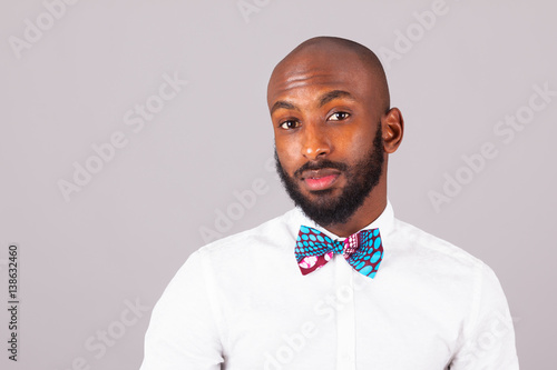 African American young man wearing an Traditional bow tie