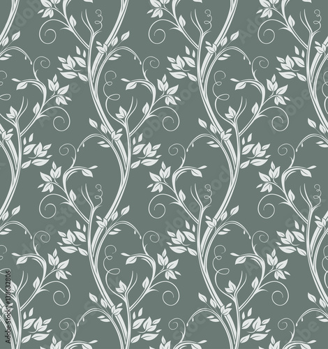 Luxury floral seamless pattern. Silver stems curl on dark background.