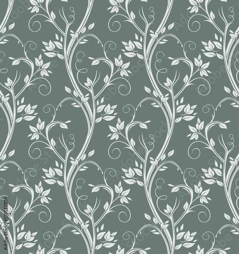Luxury floral seamless pattern. Silver stems curl on dark background.