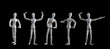 Set of wooden figurines posing as bodybuilders isolated on black background. Bodybuilders competition on stage concept