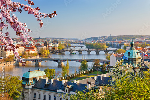 Poster View on Vltava river and Prague at sunset