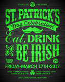 Saint Patricks Day celebration poster design. Eat, drink and be Irish, 17 March nightclub party invitation on wooden background