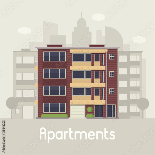 Apartment building front view on urban background. Multistory house on town landscape vector illustration. Bauhaus architecture urban home in flat design. Real estate agency in modern city concept. © krugli