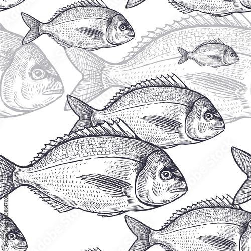 Cotton fabric Seamless pattern with fish.