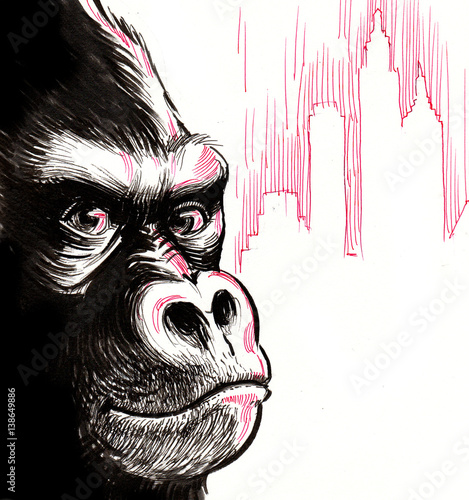 Gorilla in the city - 138649886