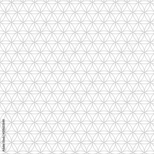 Vector modern sacred geometry seamless pattern, flower of life, design abstract texture, monochrome graphic print - 138653644