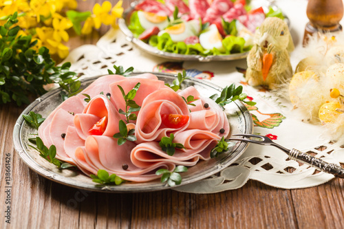 Sliced ham with decoration Easter. - 138661426