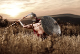 Strong Spartan warrior in battle dress with a shield and a spear - 138662251