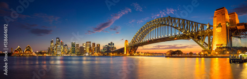 Aluminium Sydney Sydney. Panoramic image of Sydney, Australia with Harbour Bridge during twilight blue hour.