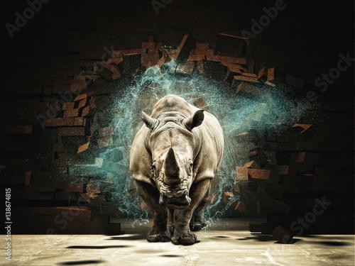 Fotobehang Neushoorn rhino destroy brick wall 3d rendering image