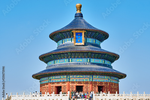Staande foto Peking Beijing , China - September 24, 2014: people tourist visiting the Temple of Heaven Beijing China Beijing China
