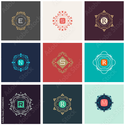 The letters E, S, R, N, M made in modern line style vector. Luxury elegant frame ornament and ethnic tribal elements. Example designs for Cafe, Hotel, Jewelry, Fashion, Restaurant