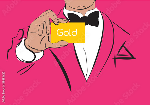 A man in a tuxedo with a gold card. Man showing gold card. Design in retro pop art style.