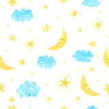 Childish seamless pattern with moon, clouds and stars. Vector background for kids design.