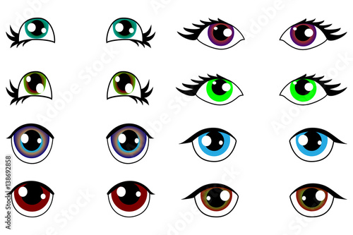 anime kawaii set of eyes with different emotions - 138692858