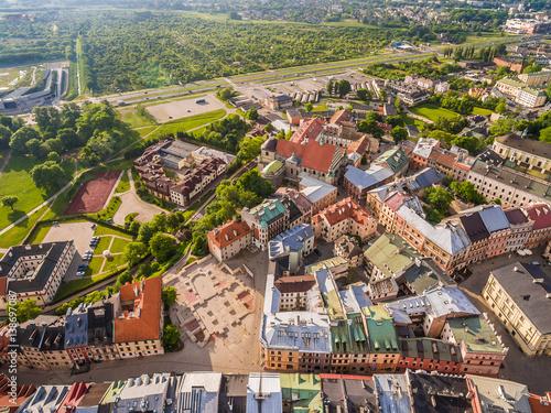Lublin stare miasto. Plac Po Farze z lotu ptaka.