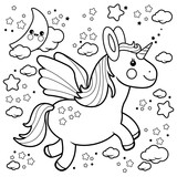 Cute unicorn flying in the night sky. Black and white coloring book page.  - 138701444