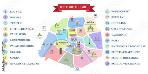 Fridge magnet Vector detailed map of the city of Paris with its famous attractions and names.