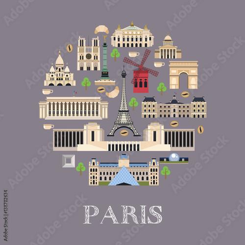 Wall mural Vector illustration of the landmark in Paris.