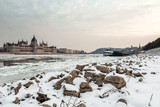 The icy Danube embankment in Budapest