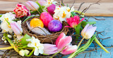 Happy Easter: nest with Easter eggs, feathers, tulips and daffodils:) - 138713068