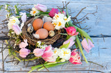 Happy Easter: nest with Easter eggs, feathers, tulips and daffodils:) - 138713485