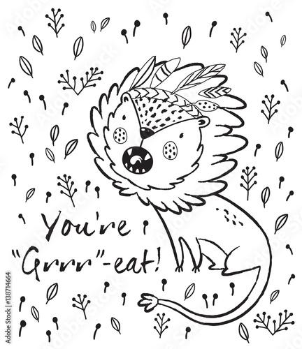 Papiers peints Cartoon draw You are great. Cute lion cartoon vector illustration