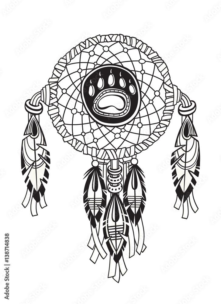 Poster Indischer Traumfänger Mit Ethnischen Ornamenten Und Federn